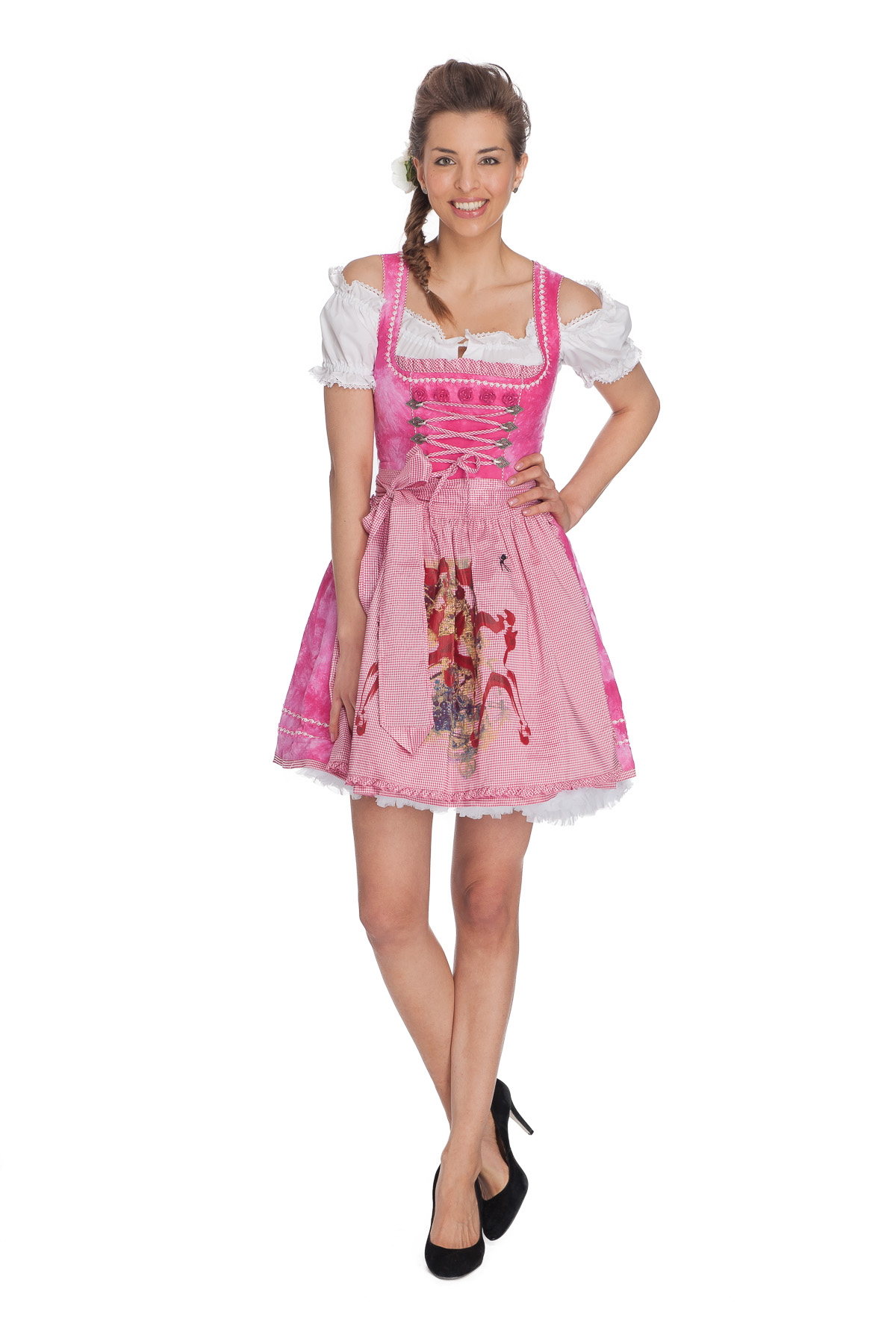 kr ger madl mini dirndl pink dream batiklook ebay. Black Bedroom Furniture Sets. Home Design Ideas