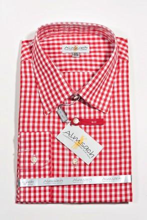 Trachtenhemd Karo Slimline rot