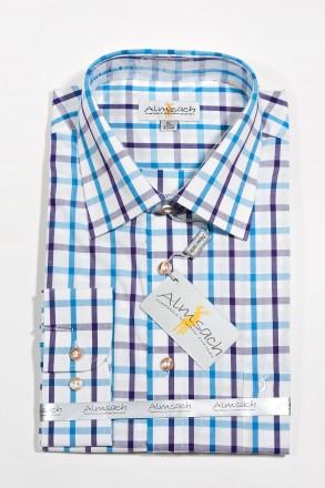 Trachtenhemd karo lila-blau-schwarz Almsach Trachtenhemden