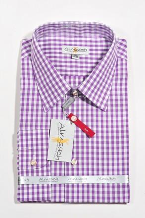 Trachtenhemd Karo Slimline flieder