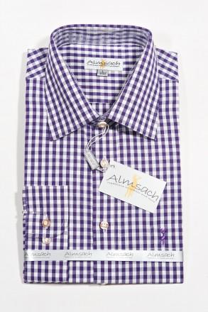 Trachtenhemd Almsach karo weiss lila Hirsch bestickt Trachtenhemden
