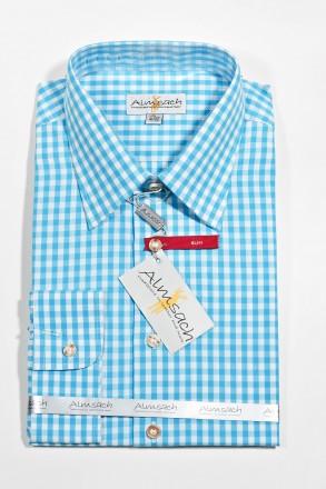 Trachtenhemd Karo Slimline türkis