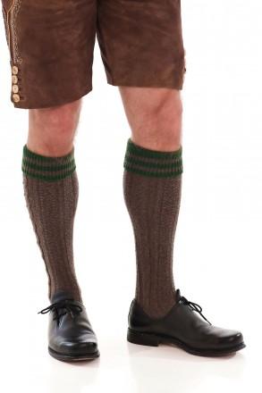 Trachten-Kniebundstrümpfe Zopfmuster brau-grün Trachtenstrümpfe