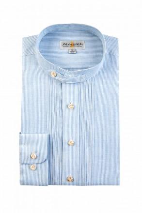 Almsach Leinen Trachtenhemd Slim Line Stehkragen hellblau