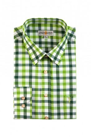 Almsach Trachtenhemd Slim Line grün tricolor