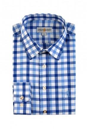 Almsach Trachtenhemd Slim Line jeans blau tricolor herren trachtenhemden