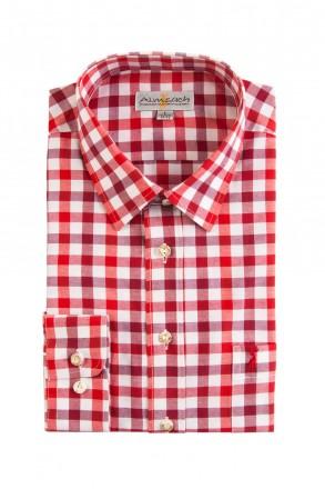 Almsach Trachtenhemd Slim Line rot tricolor