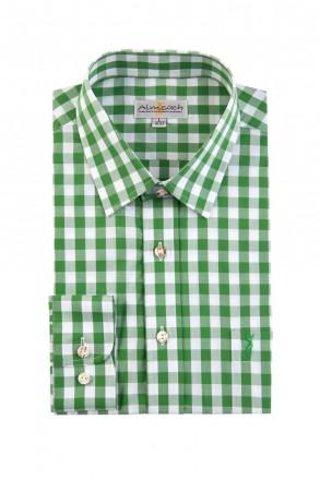 Almsach Trachtenhemd Basic gerader Schnitt grün