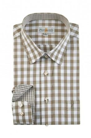 Almsach Trachtenhemd Slim Line schlamm