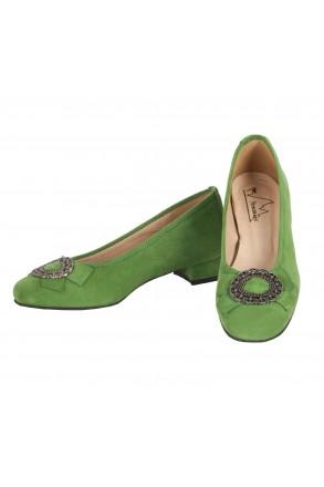 Damen-Trachtenschuhe Dirndl-Pumps grün | Andrea Conti seitlich
