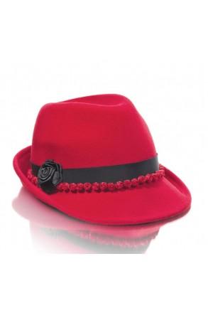 Hochwertiger Trachtenhut mit Rosen rot/schwarz