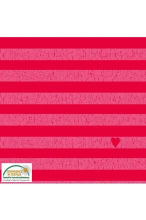 Jersey Stoff rot pink Streifen Herz