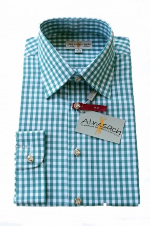 Trachtenhemd karo petrol-grün Almsach   Trachtenhemden