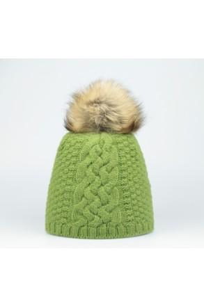 Steffner Mütze mit Echtpelz grün