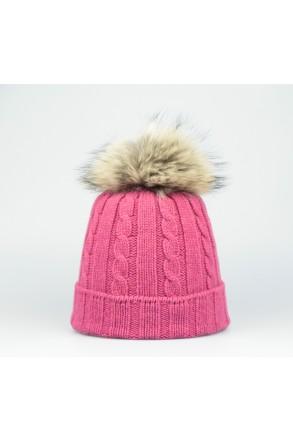 Steffner Mütze mit Echtpelz pink