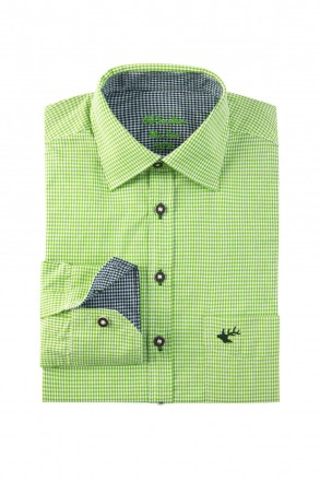 Slim Fit Trachtenhemd zweifarbig grün kariert