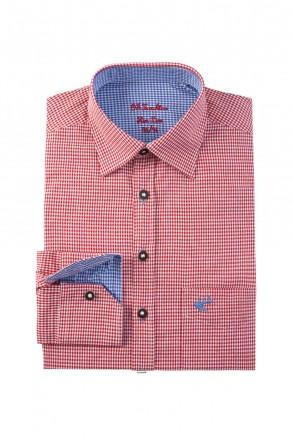 Slim Fit Trachtenhemd zweifarbig rot kariert