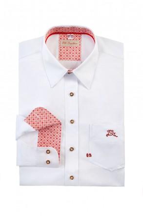Cooles Slim Line Trachtenhemd weiß mit Stick schriftzug offen