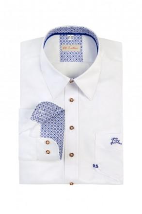 Cooles Slim Line Trachtenhemd weiß mit Stick blau schriftzug zu