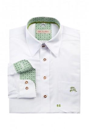 Cooles Slim Line Trachtenhemd weiß mit Stick grün gefaltet