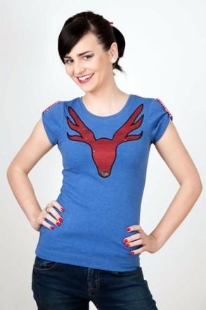Cooles Trachten T-Shirt mit Hirsch blau