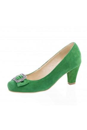 Damen-Trachtenschuhe Dirndl-Pumps grün   Andrea Conti seitlich