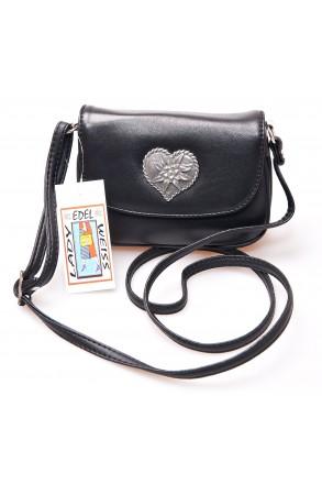 Trachtentasche Leder-schwarz mit Edelweiß-Herz   Lady Edelweiß