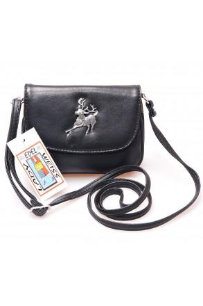 Trachtentasche Leder-schwarz mit Hirsch und Strass | Lady Edelweiß