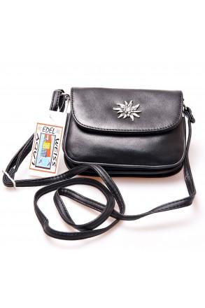 Trachtentasche Leder-schwarz mit Edelweiß und Strass   Lady Edelweiß