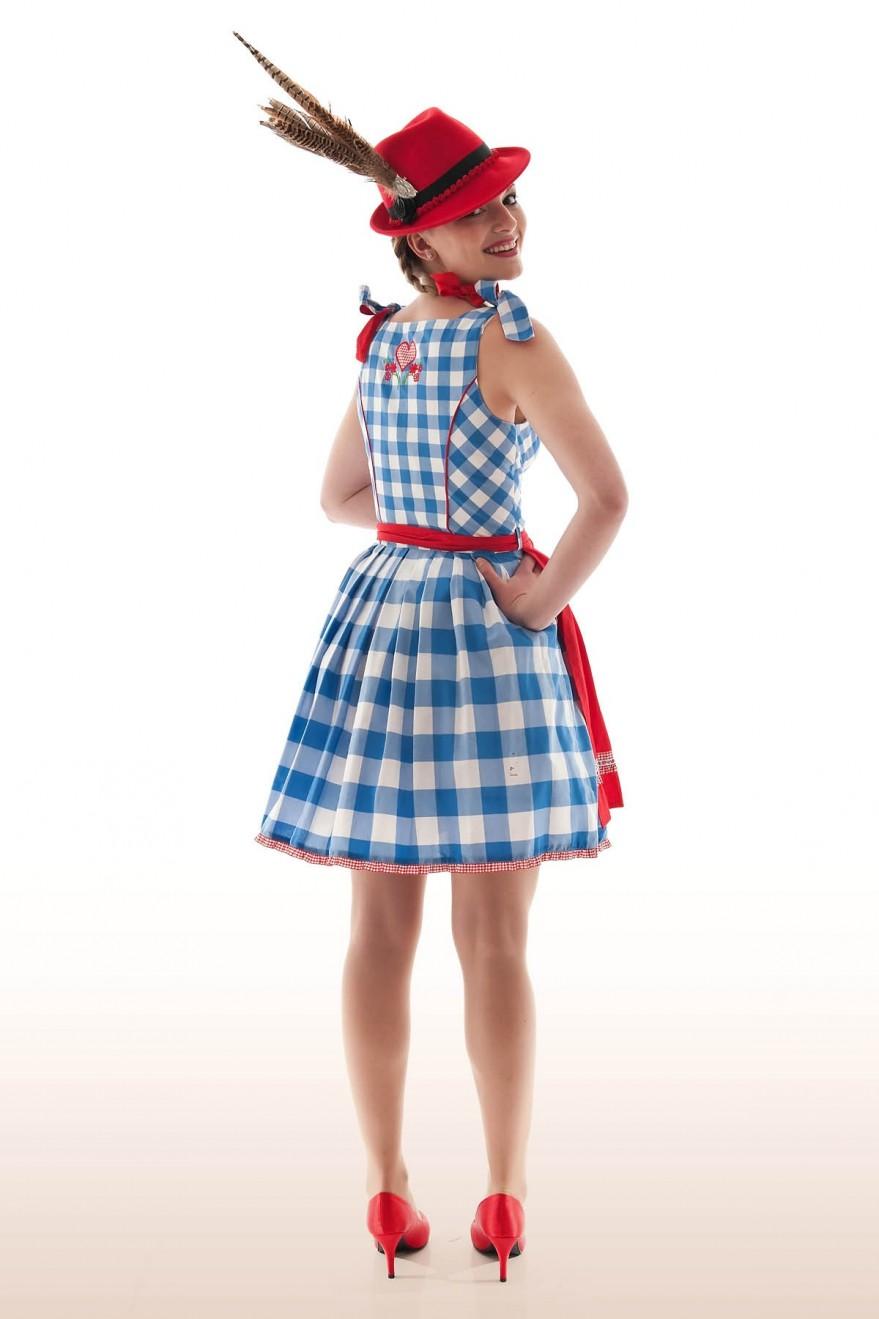 51fbdcd3dc03 ... recht 2  Dirndl-Sommerkleid blau - Minikleid Dirndllook Ansicht hinten