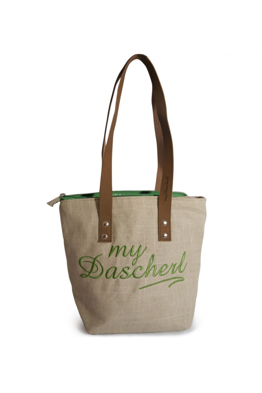 76a5eead6d533 my dascherl sackle zement dirndl trachten tasche leinen grün trachteria online shop trachten mode  vorne