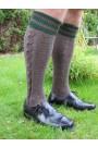 Trachten-Kniebundstrümpfe Zopfmuster brau-grün Trachtenstrümpfe rechts