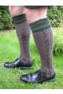 Trachten-Kniebundstrümpfe Zopfmuster brau-grün Trachtenstrümpfe links